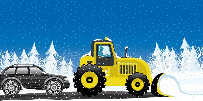 Den gula traktoren tar bort snö vektor illustrationer