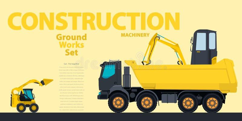 Den gula uppsättningen av konstruktionsmaskineri bearbetar med maskin medel, grävskopa Konstruktionsutrustning för byggande stock illustrationer