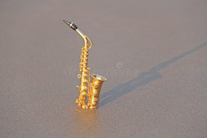 Den guld- alt- saxofonen står på sanden eller på stranden mu arkivfoton