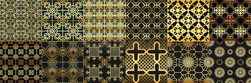 Den guld- arabiskan smyckar den sömlösa modellen Arabmode, geometrisk islamisk prydnad och guld- ramadan rammodeller stock illustrationer