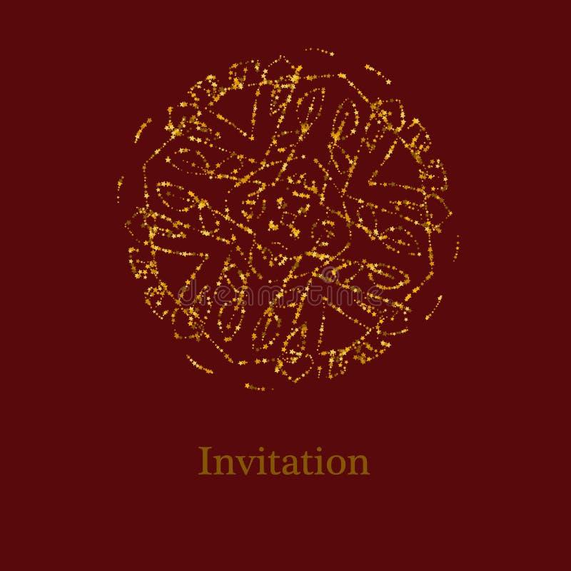 Den guld- blänka logomallen i keltiska fnuren utformar på mörkt - röd bakgrund Guld- prydnad f?r smyckendesign royaltyfri illustrationer