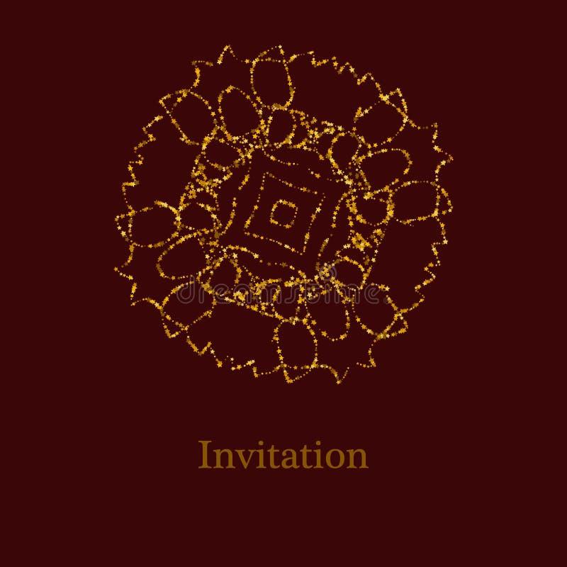 Den guld- blänka logomallen i keltiska fnuren utformar på mörkt - röd bakgrund Guld- prydnad f?r smyckendesign vektor illustrationer