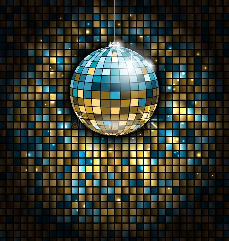 Den guld- blåa diskobollen med ljusa strålar på mosaik blänker bakgrund royaltyfri illustrationer