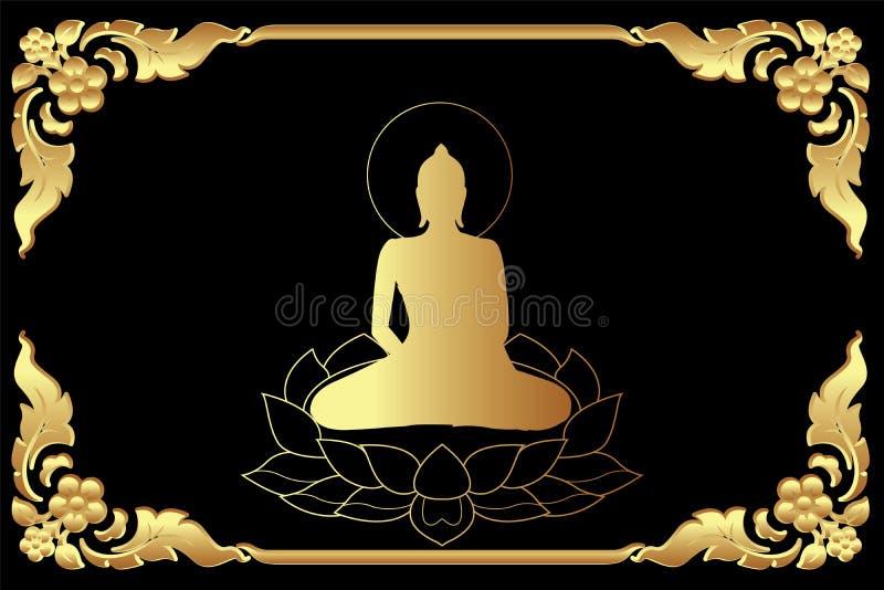 den guld- Buddha sitter på lotusblomma vektor illustrationer