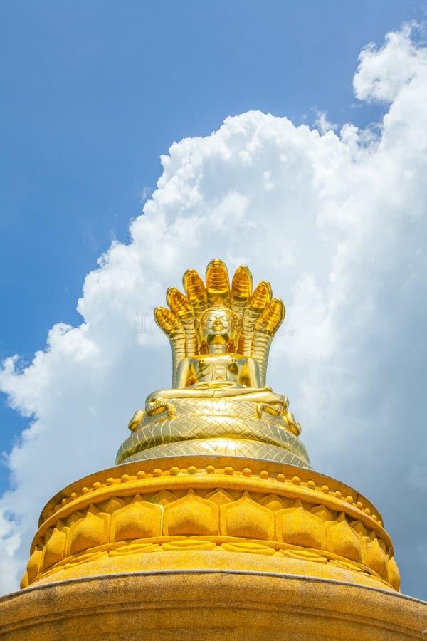 Den guld- Buddhastatyn med sju Naga heads under på blå himmel royaltyfri bild