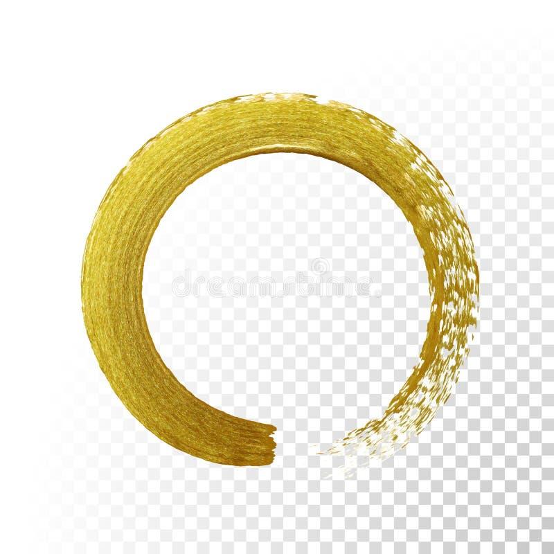 Den guld- cirkeln blänker texturmålarfärgborsten på genomskinlig bakgrund för vektor vektor illustrationer