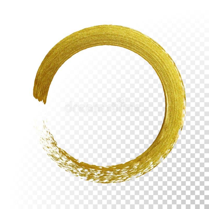 Den guld- cirkeln blänker texturmålarfärgborsten på genomskinlig bakgrund för vektor stock illustrationer