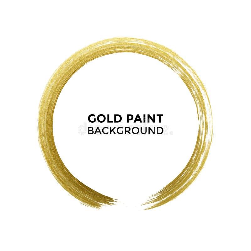 Den guld- cirkeln blänker texturmålarfärgborsten på vektorvitbakgrund stock illustrationer