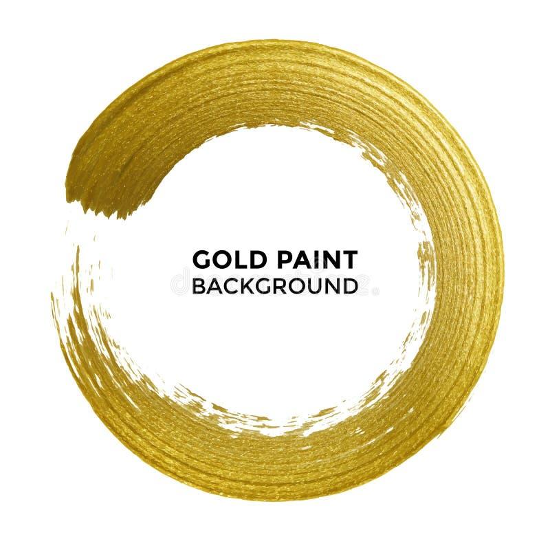 Den guld- cirkeln blänker texturmålarfärgborsten på vektorvitbakgrund royaltyfri illustrationer