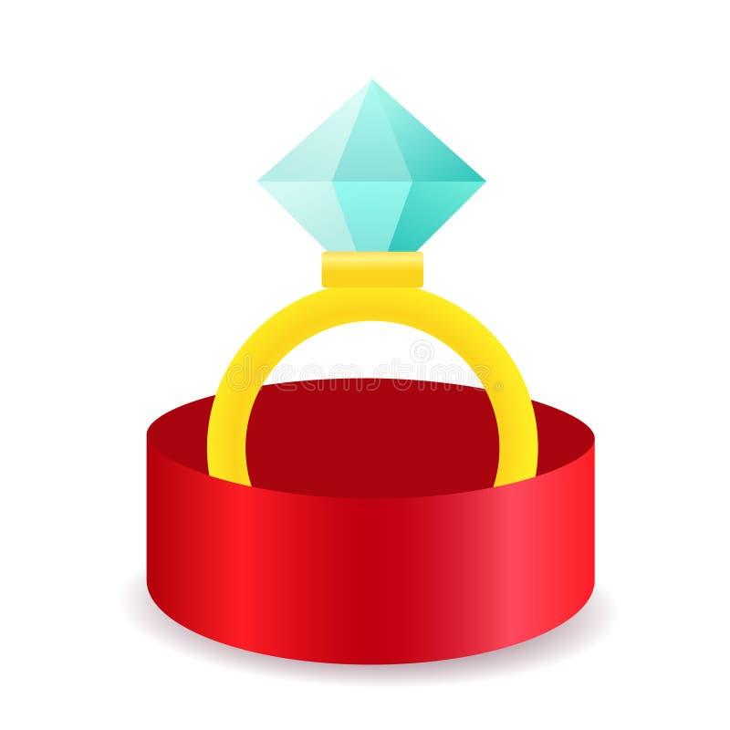 Den guld- cirkeln med diamanten i vektor för smyckenask isolerade stock illustrationer