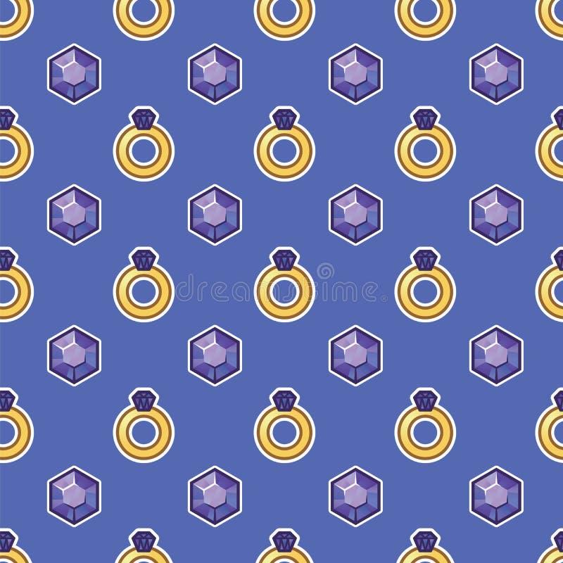 Den guld- cirkeln med den stora diamant- och juvelerarekristallen på lilor mönstrar bakgrund Juvlar diamantstenar, smycken, ädels royaltyfri illustrationer