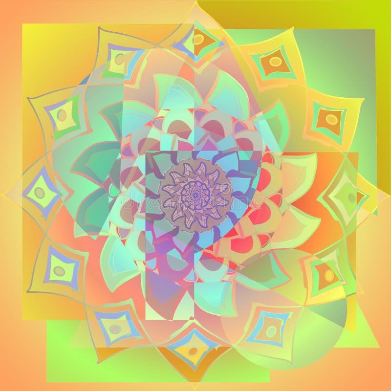 Den guld- dahliamandalablomman, geometrisk bakgrund, den ljusa paletttappningbilden, i guld- som är gul, apelsin, aquamarien, tur stock illustrationer