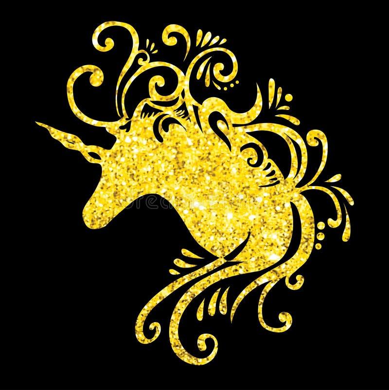 Den guld- enhörningen för fantasin för vektorn för enhörningen för enhörninghuvudeps blänker design för enhörning för gem för kon stock illustrationer