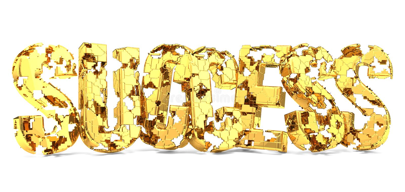 Den guld- framgångsaknaden lappar 3d stock illustrationer