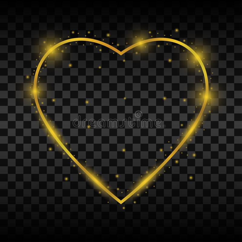 Den guld- glödande hjärtaramen med mousserar och ljusa effekter vektor royaltyfri illustrationer