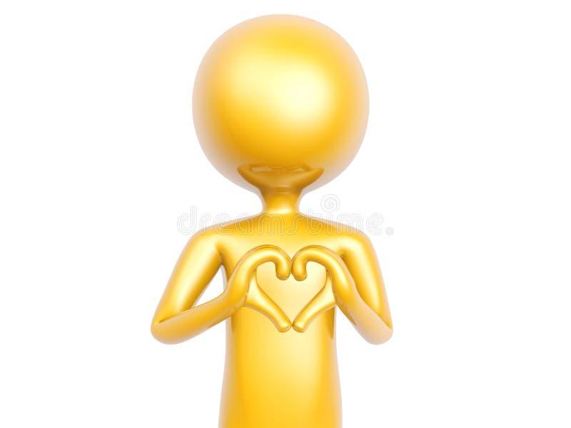 Den guld- grabben gör hjärtaförälskelsesymbol med isolerade händer på vit royaltyfria bilder