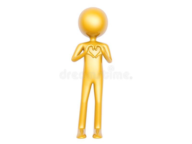 Den guld- grabben gör hjärtaförälskelsesymbol med isolerade händer på vit bakgrund royaltyfri foto