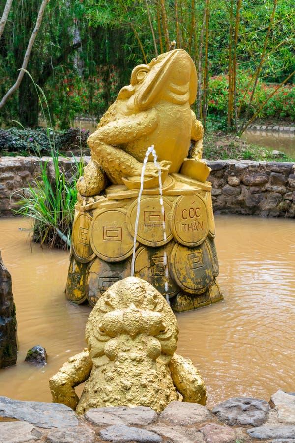 Den guld- grodan sitter på mynt i dammet med smutsigt vatten royaltyfria foton