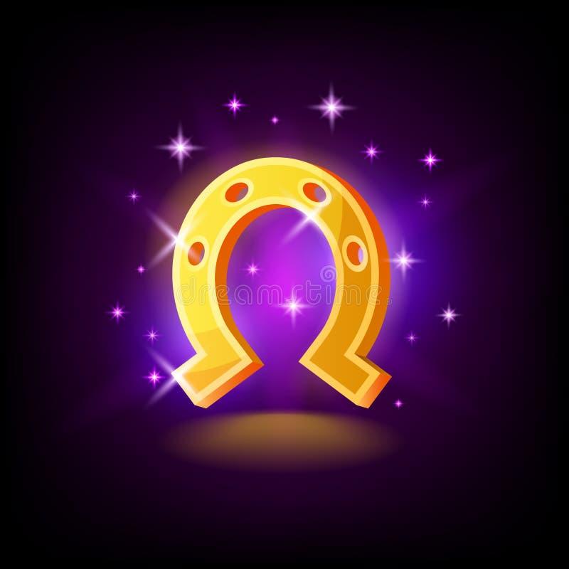 Den guld- hästskon med mousserar, symbolet av lycka, förmögenhet, springasymbol på mörk purpurfärgad bakgrund, kasinobegreppet, v royaltyfri illustrationer