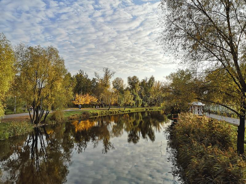 Den guld- hösten i parkerar runt om sjön i Kyiv, Ukraina royaltyfria foton