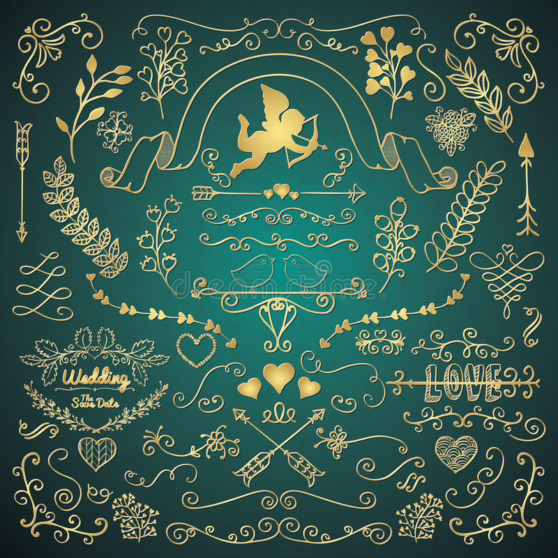 Den guld- handen skissade lantliga beståndsdelar för blom- design vektor illustrationer
