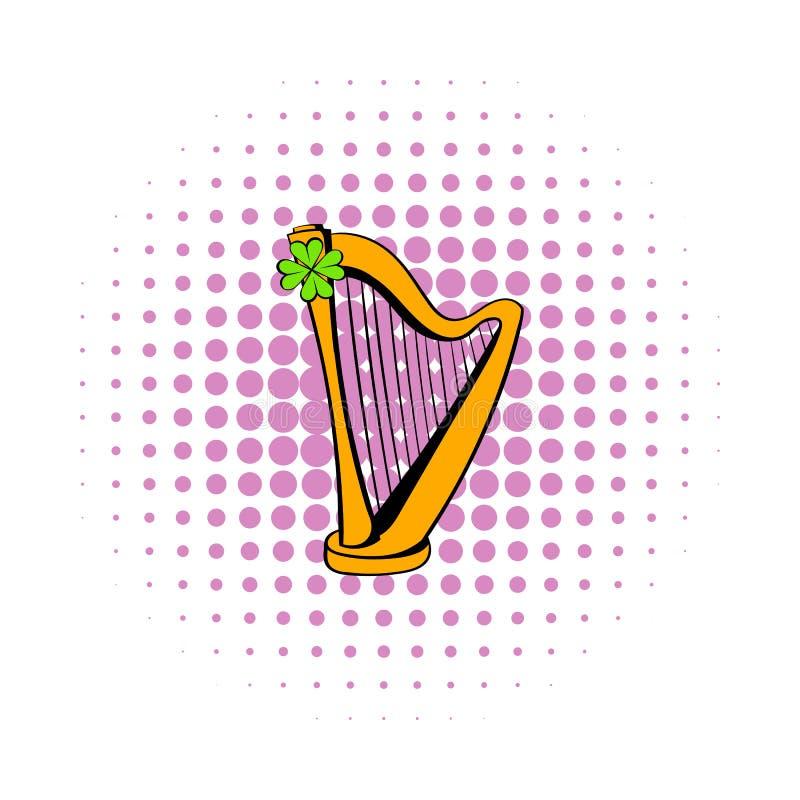 Den guld- harpa- och växt av släktet Trifoliumsymbolen, komiker utformar vektor illustrationer