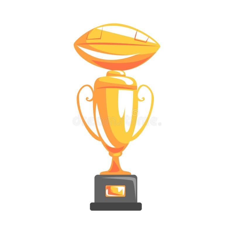Den guld- koppen för mästerskapvinnaren, den släkta delen av amerikansk fotboll isolerade objektserie av Sportive illustrationer vektor illustrationer