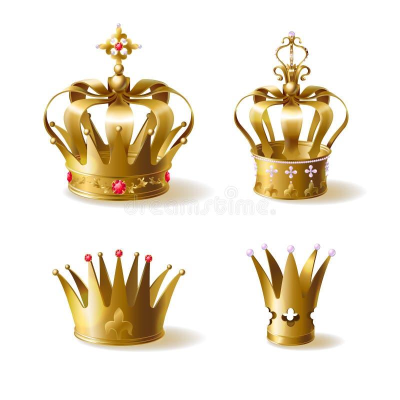 Den guld- kungliga personen krönar 3d den realistiska vektoruppsättningen vektor illustrationer