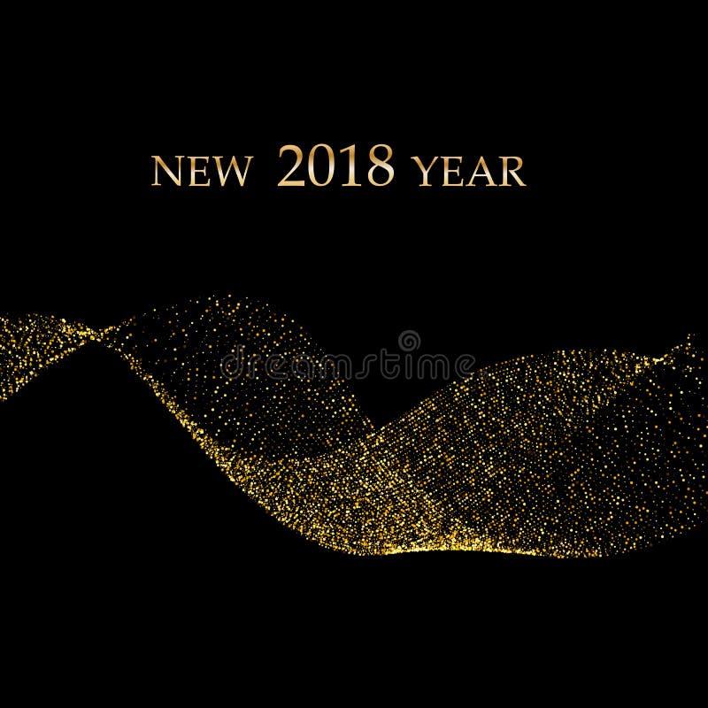 Den guld- metalliska vågen blänker av konfettier på en svart bakgrund Lyxig vektorbakgrund för nytt år Guld- grained abstrakt beg stock illustrationer