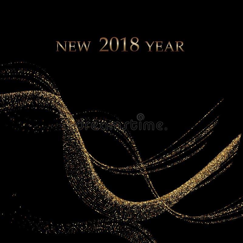 Den guld- metalliska vågen blänker av konfettier på en svart bakgrund Lyxig vektorbakgrund för nytt år Guld- grained abstrakt beg royaltyfri illustrationer