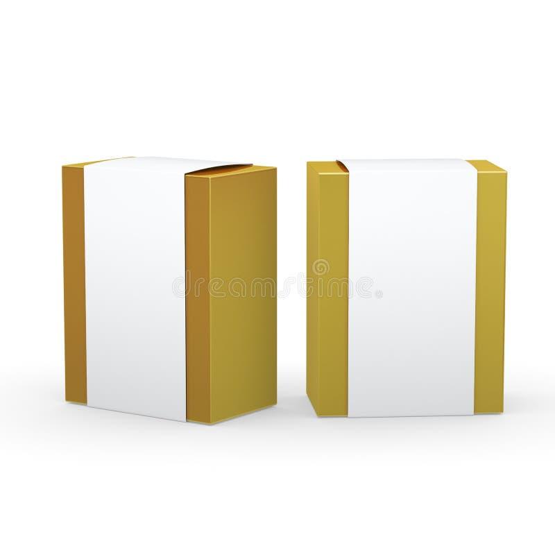 Den guld- pappers- asken med den vita sjalen som förpackar, den snabba banan, inkluderar vektor illustrationer