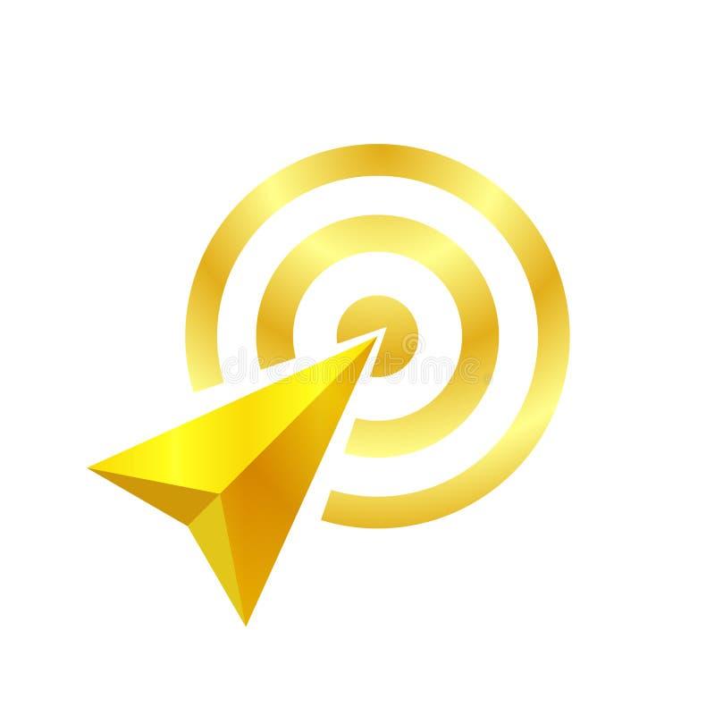 Den guld- pilen av målsymbolet, pilen som det guld- begreppet är, symboliserar målet och framgång, guld- pillogo royaltyfri illustrationer