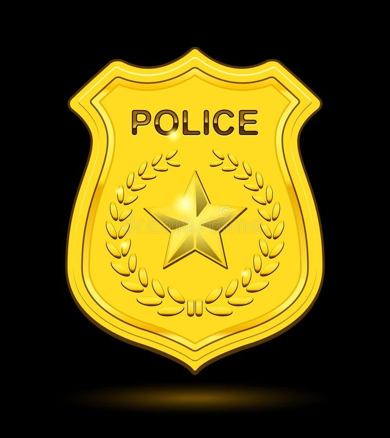 Den guld- polisen förser med märke vektor illustrationer