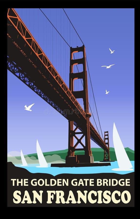 Den guld- portbron, San Francisco stock illustrationer