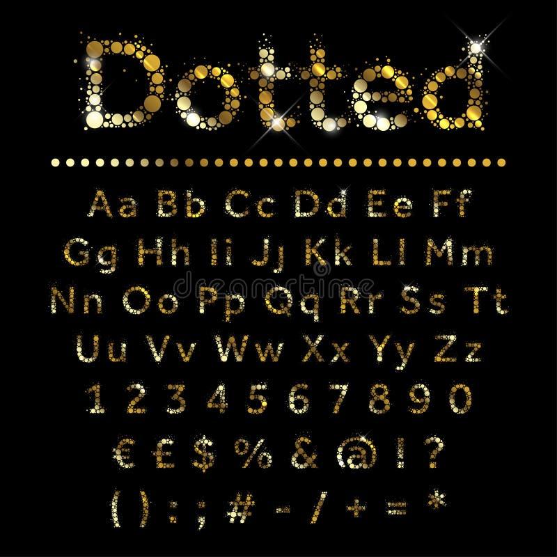 Den guld- prickiga metallalfabetuppsättningen märker, nummer och tecken royaltyfri illustrationer