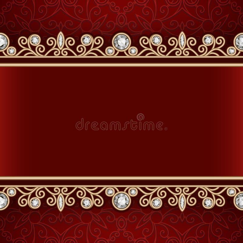 Den guld- ramen med smycken gränsar på röd bakgrund vektor illustrationer
