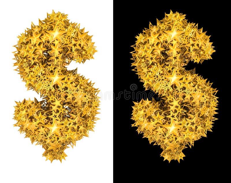Den guld- skina stjärnadollaren undertecknar royaltyfri illustrationer