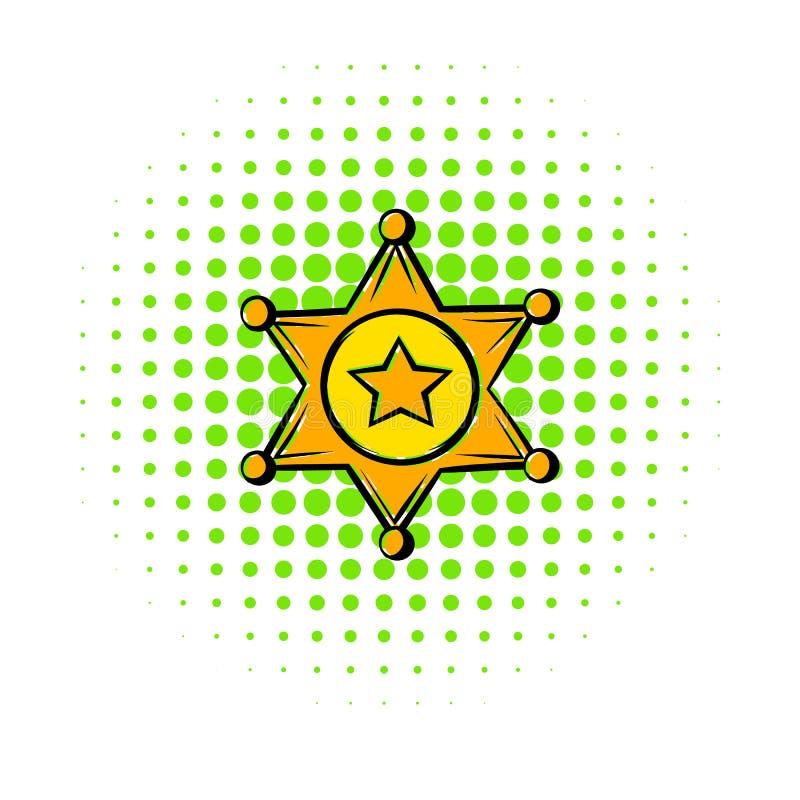 Den guld- symbolen för sheriffstjärnaemblemet, komiker utformar stock illustrationer