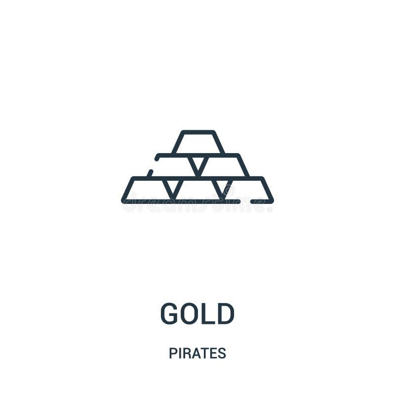 den guld- symbolsvektorn från piratkopierar samlingen Tunn linje guld- illustration för översiktssymbolsvektor r stock illustrationer