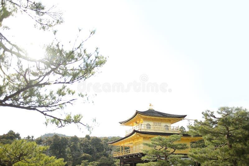 Den guld- templet kallade den Kinkakuji templet, Kyoto Japan royaltyfri bild