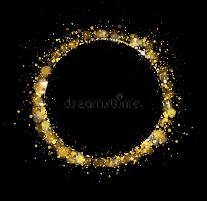 Den guld- vektorn, blänker, cirklar ramen vektor illustrationer