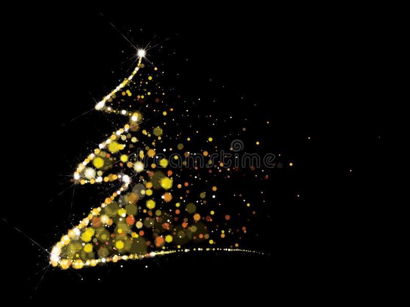Den guld- vektorn, blänker julgranen royaltyfri illustrationer