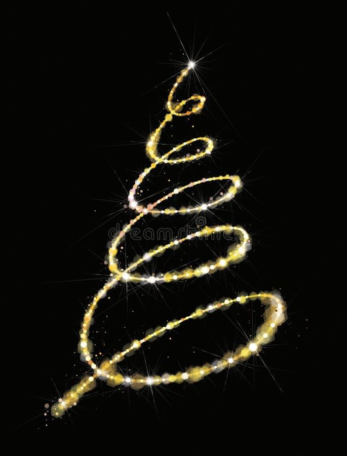 Den guld- vektorn, blänker julgranen Julgran som hälsar c royaltyfri illustrationer
