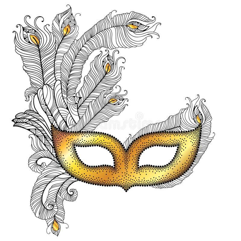 Den guld- Venetian karnevalmaskeringen Colombina med översiktspåfågeln befjädrar i svart på vit bakgrund stock illustrationer