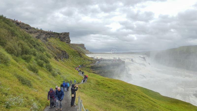 Den Gullfoss vattenfallet, Island royaltyfri bild