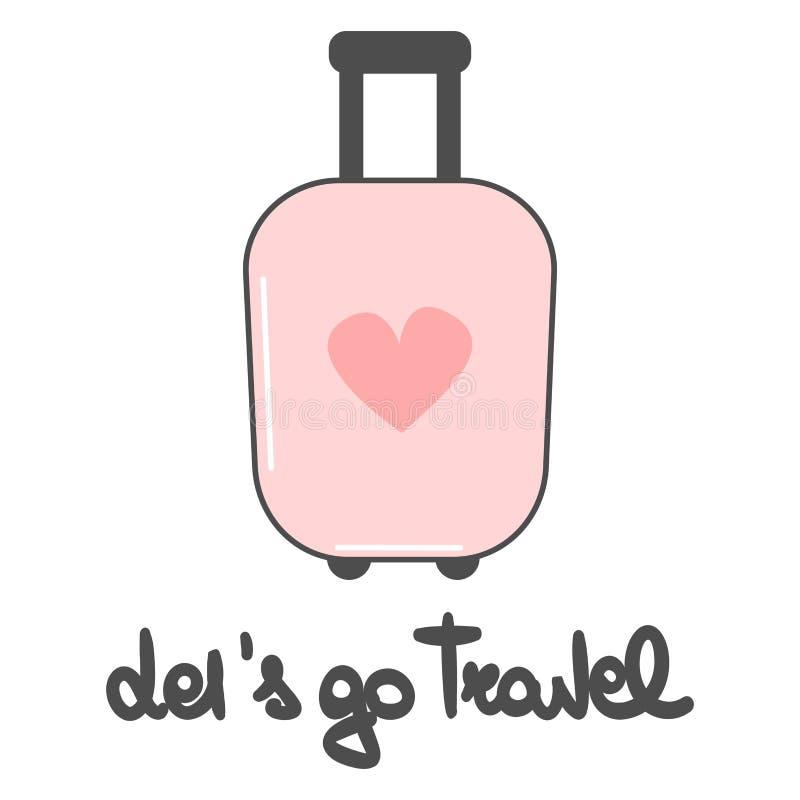 Den gulliga älskvärda vektorn lät oss gå att resa den drog handen märka uttryck med den rosa resväskan för tecknade filmen stock illustrationer