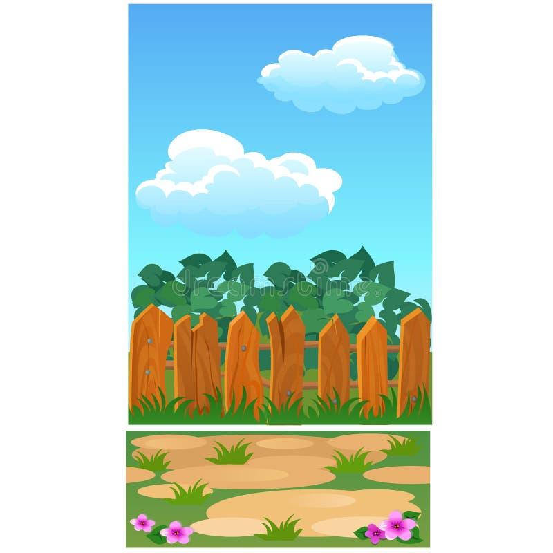 Den gulliga affischen med trästaketet för ett landshus, parkerar eller stugan Illustration för vektortecknad filmnärbild royaltyfri illustrationer