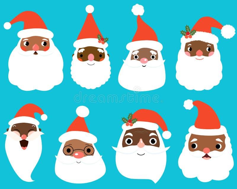 Den gulliga afrikanska amerikanen Santa Claus vänder mot för jul och grafisk design för ferie stock illustrationer