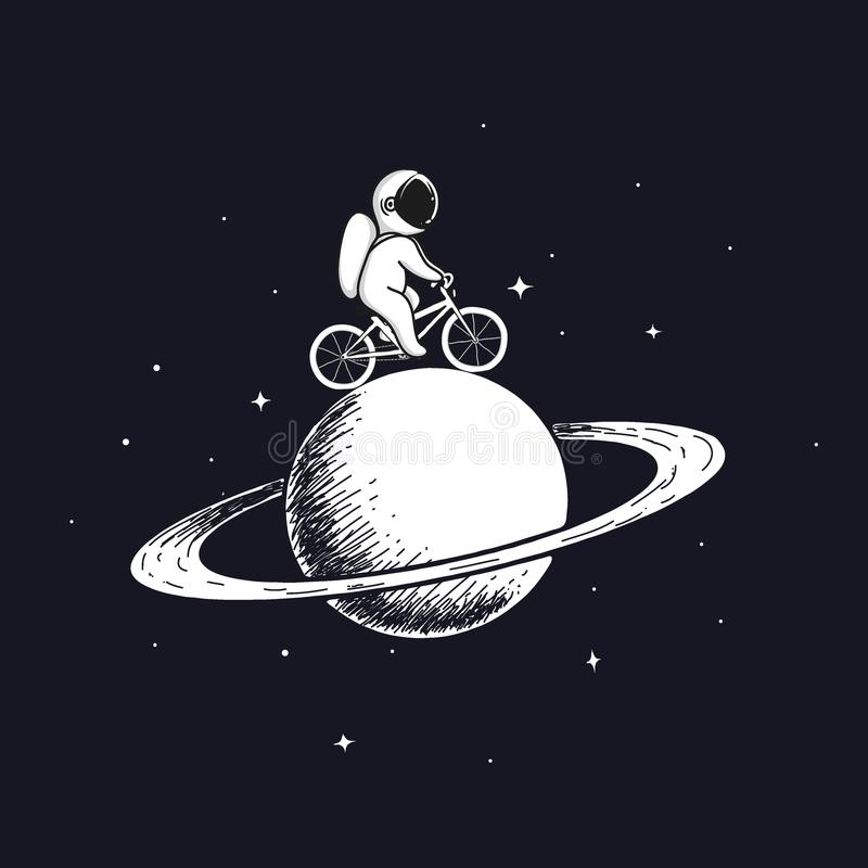 Den gulliga astronautet rider på cykeln på Saturn stock illustrationer