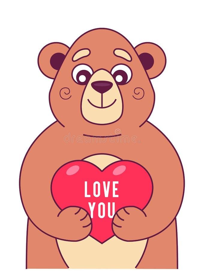 Den gulliga björnen håller hjärta royaltyfri illustrationer